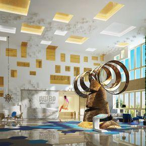 现代星级酒店大厅3D模型下载