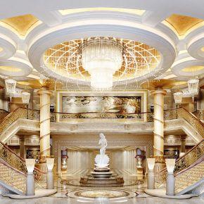 古典欧式酒店大堂3D模型下载/效果图