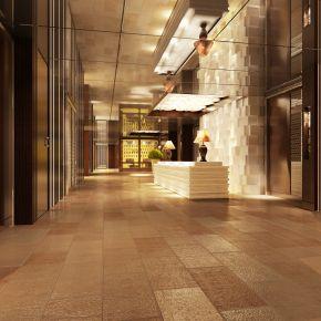 宾馆酒店大厅前台3d模型下载