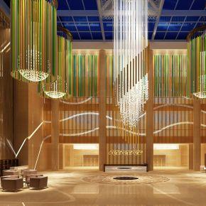 现代简约酒店大厅休息区3D模型下载