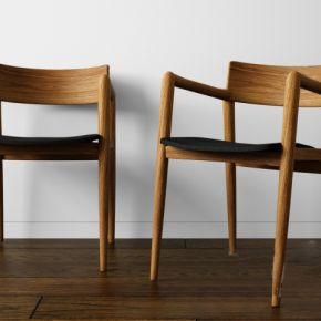 餐厅实木椅子3D模型下载