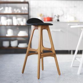 简约复古美式实木吧台椅子酒吧椅现代高脚凳3d模型下载