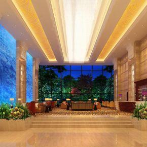度假酒店大厅休息区3D模型下载