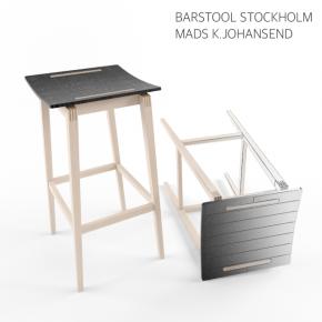 实木高脚吧台凳子椅子3d模型下载