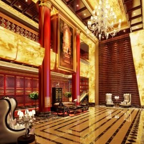 古典中式酒店大厅3D模型下载
