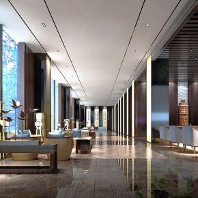 新中式酒店大厅3D模型下载_酒店大厅效果图