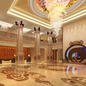 新中式酒店大厅3D模型下载