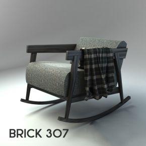 北欧风格布艺实木单人沙发3d模型下载
