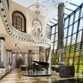 现代风格售楼处大厅3D模型