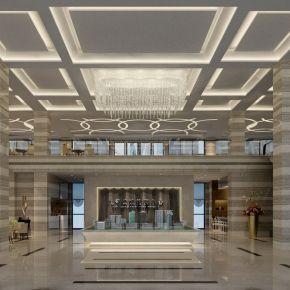 现代简欧售楼中心含前台/沙盘/接待洽谈区3d模型下载