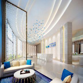 蓝色地中海现代混搭售楼处大厅前台洽谈区