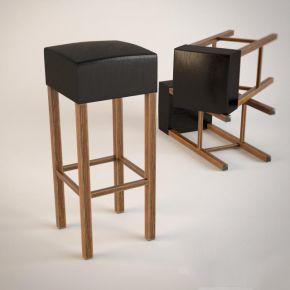 现代实木黑色皮革吧台椅子