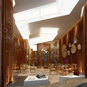 北欧风格售楼处大厅洽谈区3D模型