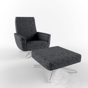 现代灰色布艺沙发休闲椅桌子组合