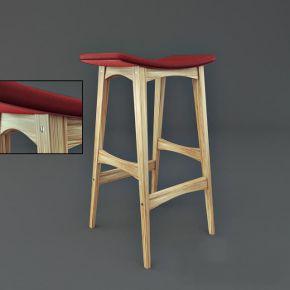 现代风格红色布艺实木吧台单人椅子