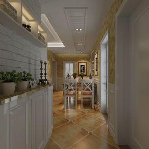 田园地中海风格客厅餐厅3D模型