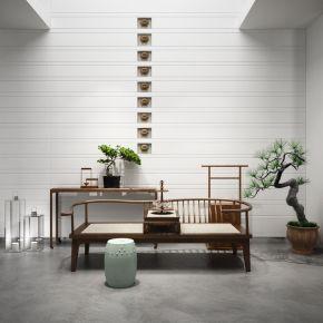 中式罗汉床端景台陈设品组合3D模型