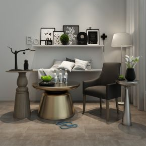 现代简约单椅茶几陈设品组合
