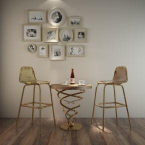 后现代简约吧台椅桌椅组合
