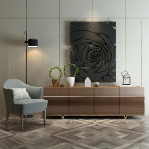 现代简约单椅电视柜陈设品组合