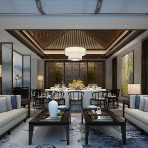 新中式饭店餐厅包厢3D模型