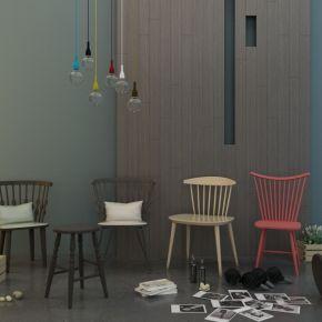 现代简约单人椅摆设品组合