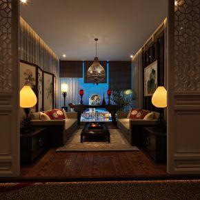 中式茶室会所3D模型