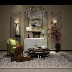 新中式单椅茶几边柜组合