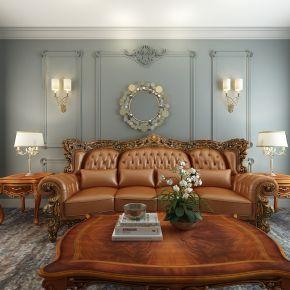 欧式古典多人沙发茶几组合