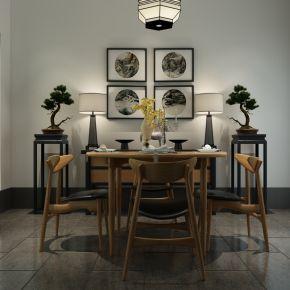新中式简约餐桌椅组合