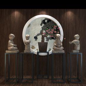 中式雕塑陈设品组合
