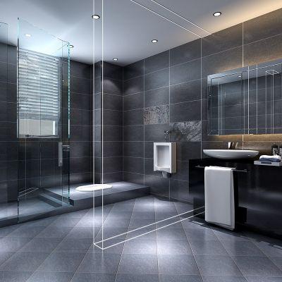 现代风格黑白卫生间