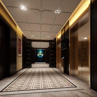 现代风格走廊过道3D模型