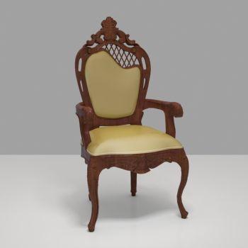 欧式实木皮革单椅