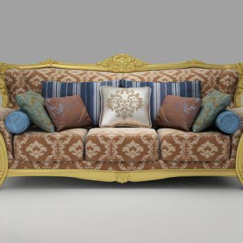 欧式浮雕布艺三人沙发