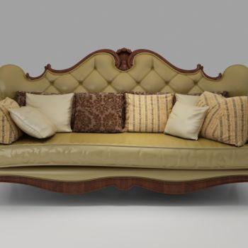 欧式实木皮革三人沙发