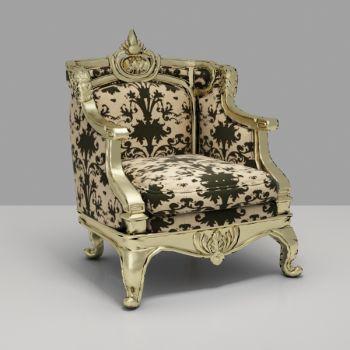 欧式浮雕布艺单人沙发