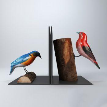后现代风格木头鸟组合装饰摆件