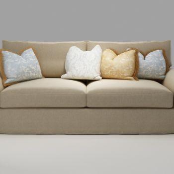 欧式抱枕布艺双人沙发