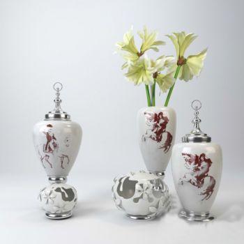 后现代风格陶瓷和花卉装饰摆件