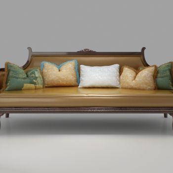 欧式抱枕皮革三人沙发
