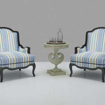 欧式布艺单人沙发圆几组合