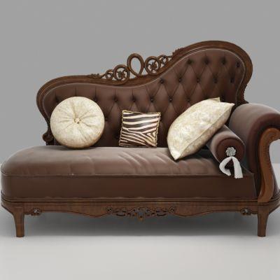 欧式浮雕布艺贵妃椅