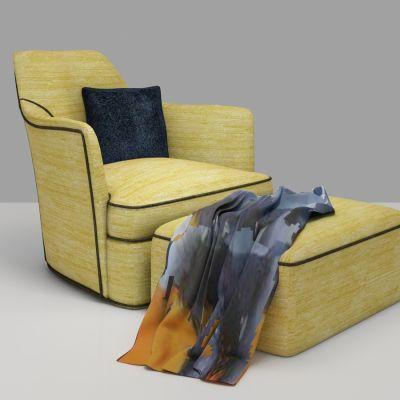 欧式布艺单人沙发脚蹬组合