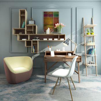 北欧简约书桌椅装饰柜组合