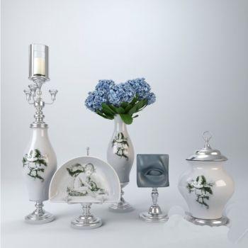 后现代风格台灯陶瓷金属花卉组合饰品摆件