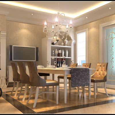 欧式风格餐厅3D效果图模型