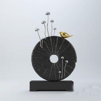现代风格蘑菇金属鸟饰品摆件