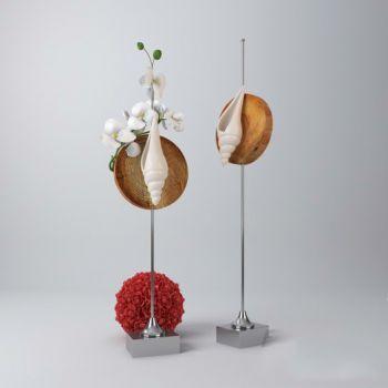 现代风格金属海螺花卉饰品摆件