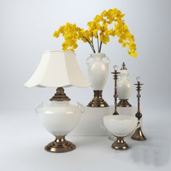 欧式风格台灯花瓶花卉饰品摆件